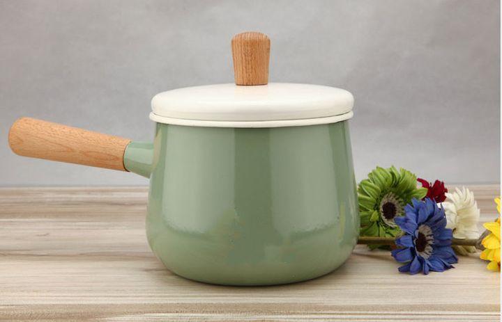 宜家IKEA 卡斯鲁 烧锅 1.5升搪瓷单柄奶锅 带盖小汤锅进口锅 新品