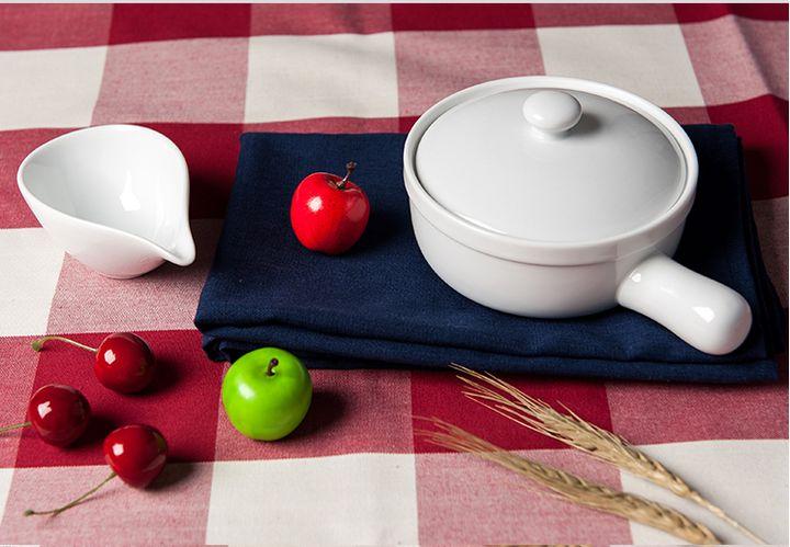 朴房 出口订单 质优陶瓷奶锅 带手柄带盖陶瓷汤碗 可爱又实用