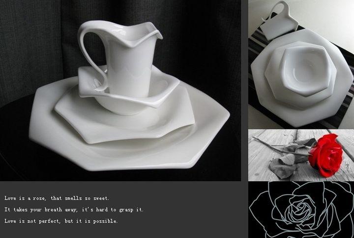 现代时尚样板房软装 陶瓷餐具 简约餐厅餐桌玫瑰花4件套餐盘摆件